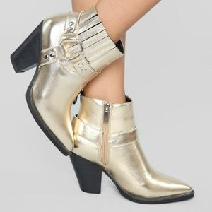 Shoes - Brand New Gold Boho Festival Western Style Booties